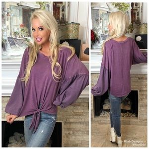 🛍NEW! Mineral Wash Front Tie Ballon Sleeve Top!